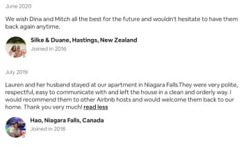 AirBnB reviews: New Zealand and Canada