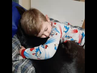 So sweet, my son and our dog charlie love to sneak snacks as well as naps together.