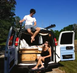 Claire and Jake with Gloria - our converted camper van