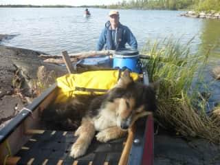 Canoeing with Smokey (friend's dog)