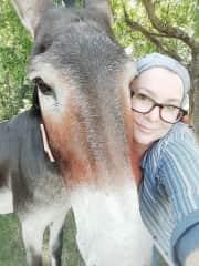 Me with my donkey, Fiona.