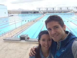 Pame and Ignacio tired after a hard swimming session at Club La Santa, Lanzarote