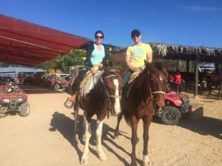 Sebastian and me horseback riding in Baja California.