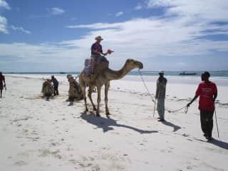 Simon on a camel in Kenya