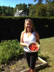 Me with a small bounty from my veg garden