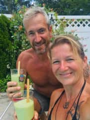 Paul and Kay enjoying Smoothies in the US