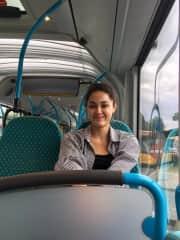 Chloe on bus in the Balkans