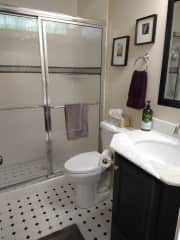 Your bathroom features a walk-in shower