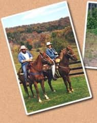 Leon, my husband, and me getting ready to lead a  trail ride.