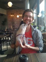 Alex with our little friend Coco.