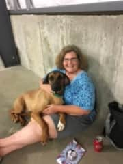Tory and I relaxing after a dog show competition. Rhodesian Ridgeback, JT's Daughter.