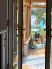 Puggles in Sunroom/Yogaroom