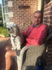 Selwyn with Leo, friends dog we sit