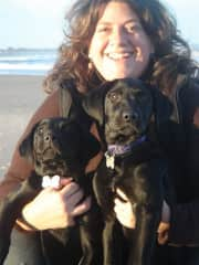 Me with two of my dogs when they were little