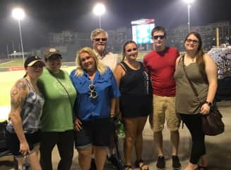 The family out for a baseball game on July 4th!
