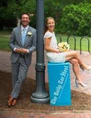 I went to UNC where I studied journalism (as seen here on my wedding day)