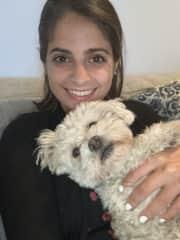Carmen pet sitting her aunt's dog, Lola