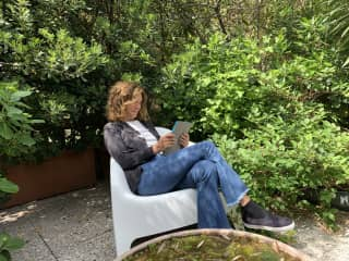 Rossella, sunny spring afternoon on our garden terrace in Milan.