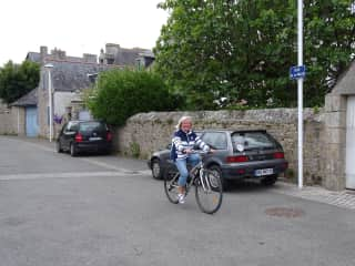 This is Sue cycling around Roscoff, France