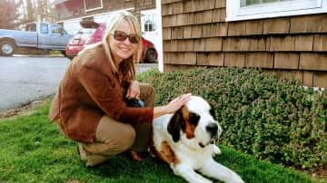 Sharlene and Santi the St.Bernard neighbor dog that visits her every day for treats!
