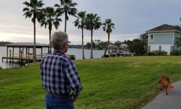 Ken and Mary walking Pepper while in Pensacola.