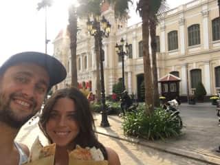 Ho Chi Minh. Distric 1. Eating street food.