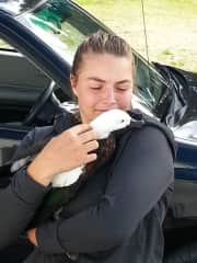 Megan with a wild Paradise Duck