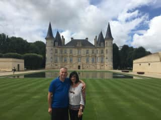 Ray and Catherine with an awesome Bordeaux chateau in the background