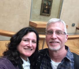 Linda and Roger (and the Mona Lisa) at the Louvre, Paris, France