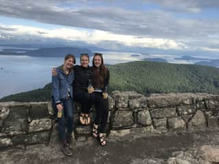 Some friends and I with a view of the San Juan Islands, WA.