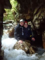 Exploring the glow worm caves in New Zealand.