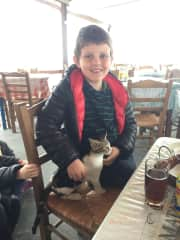 Andrew with a kitty friend