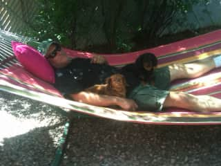 Willie relaxing with Catie and Angel