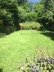Badminton net in place!