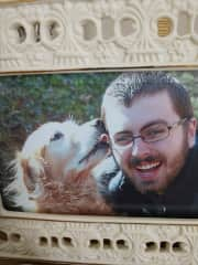 This is my son and our beloved Courage, who died four years ago. He took great joy in hiking with us and doing anything with people and other animals!