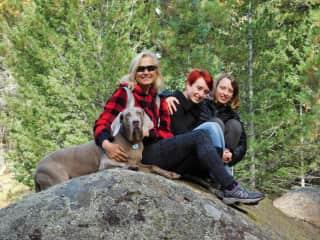 Danka hiking with her daughters and Nani