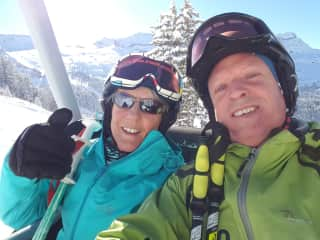 James and Julie skiing
