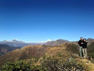 Terry and Kathy Clark hiking in Bhutan
