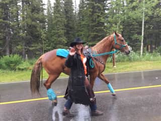 A wet parade day with my horse Gemma