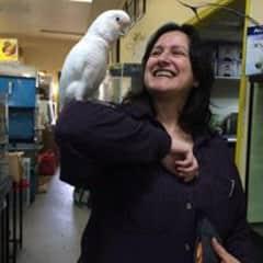 Linda making friends in a pet store