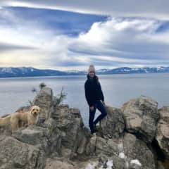 Me and my hiking companion Mango in Lake Tahoe.
