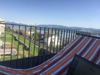 View from the south facing terrace, complete with hammock for relaxing views of the Alps