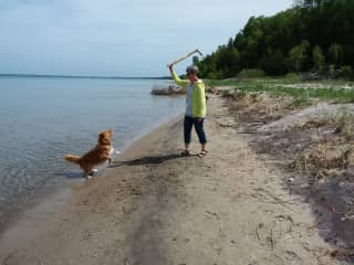 Fun times with Charlie on the shores of Lake Huron!