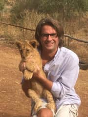 Myself and Amethyst the Baby Lion