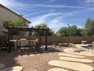Great outdoor space with BBQ, pool and fire pit.