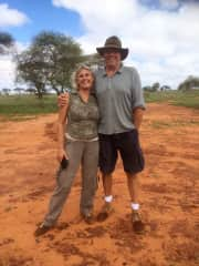 Tim and Carol on safari at our favourite camp Lions Bluff Lumu conservancy