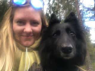Lovely Lucy and I hiking near Oslo!