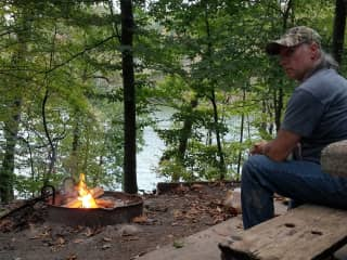 We love camping, and Mike builds a great campfire!