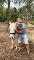 Dan and Bob, the bossy pony from our sit in Brisbane