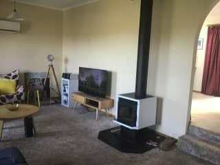 Lounge room, new wood heater